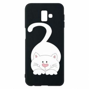 Phone case for Samsung J6 Plus 2018 Playful white cat - PrintSalon