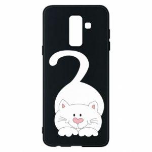Phone case for Samsung A6+ 2018 Playful white cat - PrintSalon