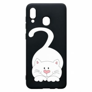 Phone case for Samsung A20 Playful white cat - PrintSalon