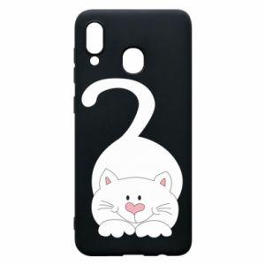 Phone case for Samsung A30 Playful white cat - PrintSalon