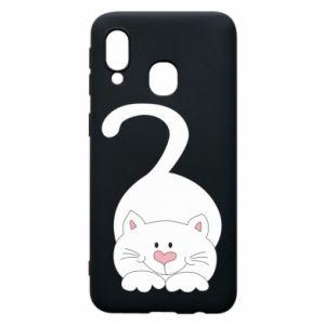 Phone case for Samsung A40 Playful white cat - PrintSalon