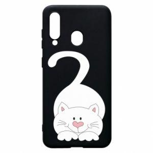 Phone case for Samsung A60 Playful white cat - PrintSalon