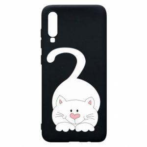 Phone case for Samsung A70 Playful white cat - PrintSalon