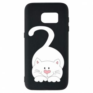 Phone case for Samsung S7 Playful white cat - PrintSalon
