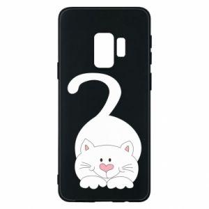 Phone case for Samsung S9 Playful white cat - PrintSalon