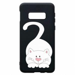 Phone case for Samsung S10e Playful white cat - PrintSalon