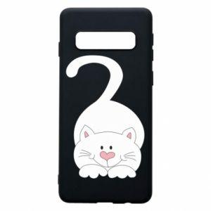 Phone case for Samsung S10 Playful white cat - PrintSalon