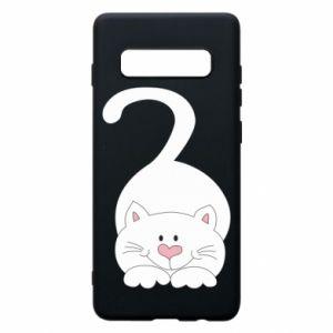 Phone case for Samsung S10+ Playful white cat - PrintSalon