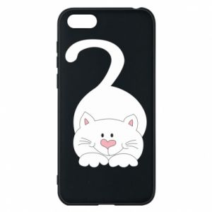 Phone case for Huawei Y5 2018 Playful white cat - PrintSalon