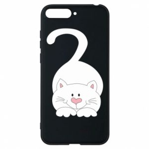 Phone case for Huawei Y6 2018 Playful white cat - PrintSalon
