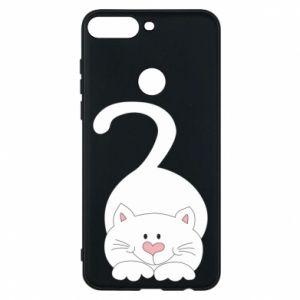 Phone case for Huawei Y7 Prime 2018 Playful white cat - PrintSalon