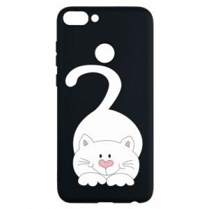 Phone case for Huawei P Smart Playful white cat - PrintSalon