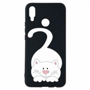 Phone case for Huawei P Smart Plus Playful white cat - PrintSalon