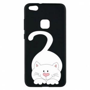 Phone case for Huawei P10 Lite Playful white cat - PrintSalon