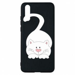 Phone case for Huawei P20 Playful white cat - PrintSalon