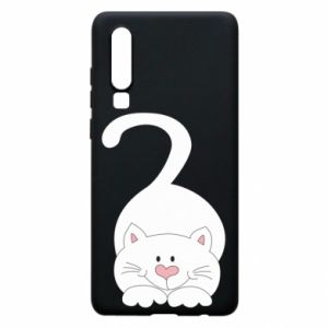 Phone case for Huawei P30 Playful white cat - PrintSalon