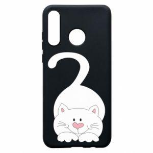 Phone case for Huawei P30 Lite Playful white cat - PrintSalon