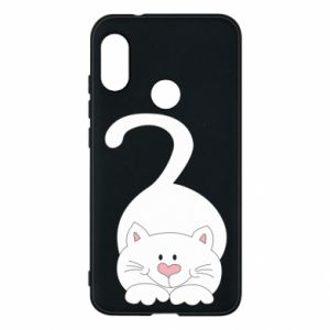 Phone case for Mi A2 Lite Playful white cat - PrintSalon