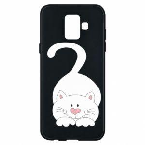 Phone case for Samsung A6 2018 Playful white cat - PrintSalon