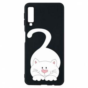 Phone case for Samsung A7 2018 Playful white cat - PrintSalon