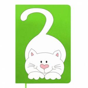 Notepad Playful white cat - PrintSalon