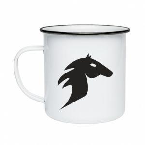 Kubek emaliowane Płonący koń - PrintSalon
