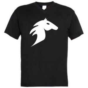 Męska koszulka V-neck Płonący koń - PrintSalon