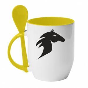 Kubek z ceramiczną łyżeczką Płonący koń - PrintSalon