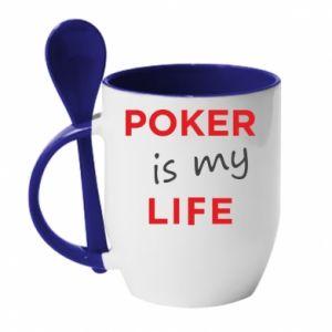 Kubek z ceramiczną łyżeczką Poker is my life