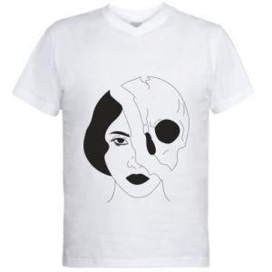 Men's V-neck t-shirt Half face half skull