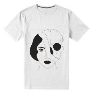 Męska premium koszulka Pół czaszka pół twarzy