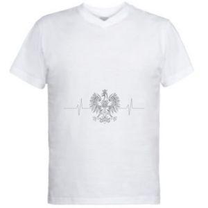 Męska koszulka V-neck Poland cardiogram