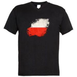 Męska koszulka V-neck Polish flag blot - PrintSalon
