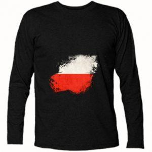 Koszulka z długim rękawem Polish flag blot - PrintSalon