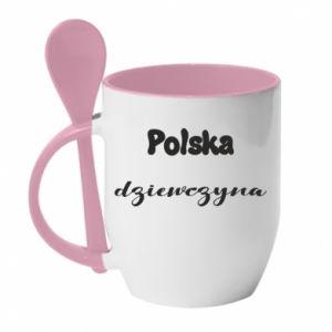 Kubek z ceramiczną łyżeczką Polska Dziewczyna