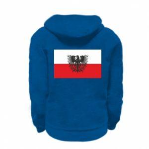 Kid's zipped hoodie % print% Polish flag and coat of arms