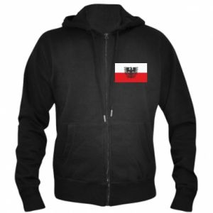 Men's zip up hoodie Polish flag and coat of arms