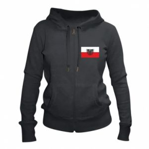 Women's zip up hoodies Polish flag and coat of arms