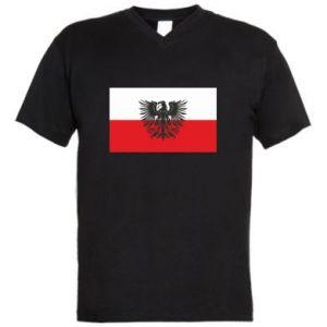 Men's V-neck t-shirt Polish flag and coat of arms