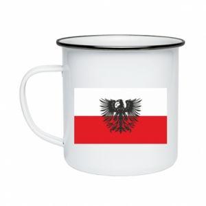 Enameled mug Polish flag and coat of arms