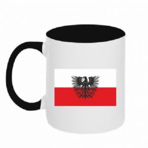 Two-toned mug Polish flag and coat of arms