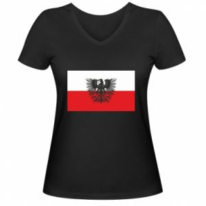 Women's V-neck t-shirt Polish flag and coat of arms