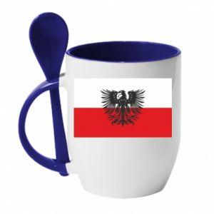 Mug with ceramic spoon Polish flag and coat of arms