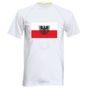 Men's sports t-shirt Polish flag and coat of arms