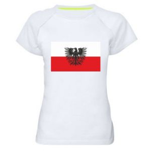 Women's sports t-shirt Polish flag and coat of arms