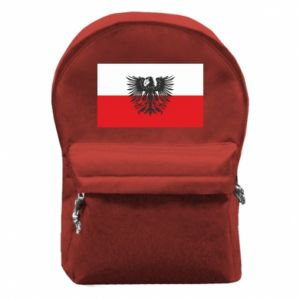 Backpack with front pocket Polish flag and coat of arms