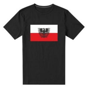 Men's premium t-shirt Polish flag and coat of arms