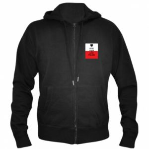 Men's zip up hoodie Polish flag with an inscription - PrintSalon