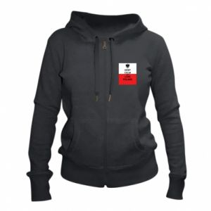 Women's zip up hoodies Polish flag with an inscription - PrintSalon