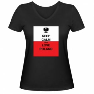 Women's V-neck t-shirt Polish flag with an inscription - PrintSalon